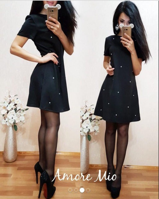 2018 Spring Women Dress Casual O-neck Short Sleeve A-Line Solid Studded Beaded Party Dresses