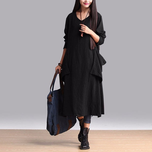 Women Maternity Clothes Solid Casual Loose Long Sleeve Maxi Dresses Pregnancy Clothing