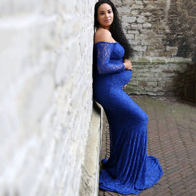 d6dd8489536 Women s Off Shoulder Long Sleeve Lace Maternity Gown Maxi Photography Dress