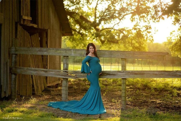 SICILY Maternity Dress Cold Shoulder Bell Sleeves Mermaid Gown