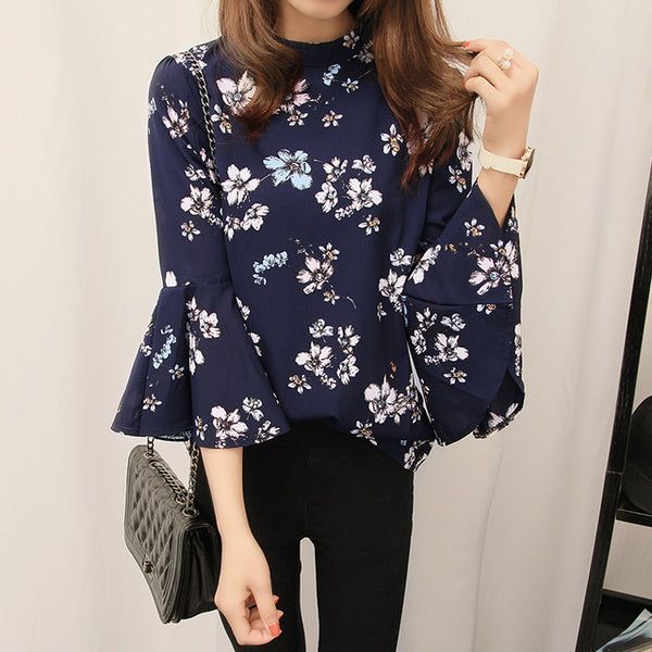 Floral Chiffon  Flare Sleeve Shirt Women Office Blouse