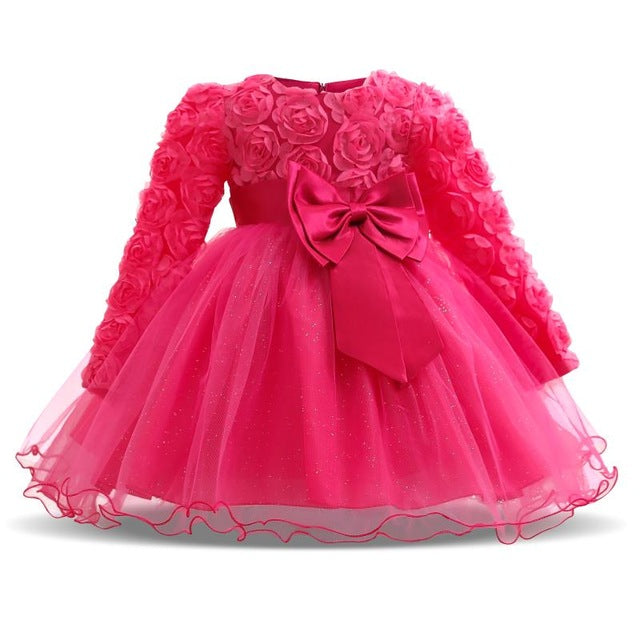 Winter Christmas Baby Birthday Little Dress Infant Christening Gowns Kids  Party Wear 6ee1651b8c25