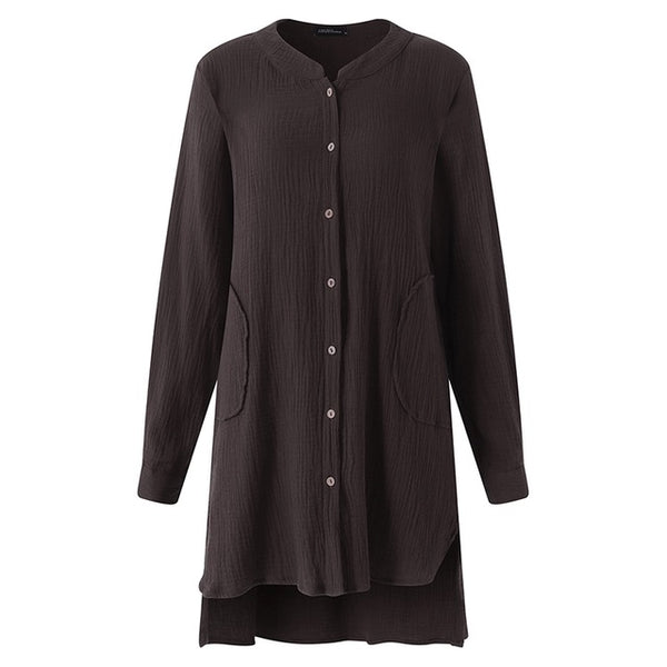 Pregnant Women Blouses Casual Loose Long Sleeve Solid Shirt Stand Collar Plus Size Tops Oversized Maternity Clothing