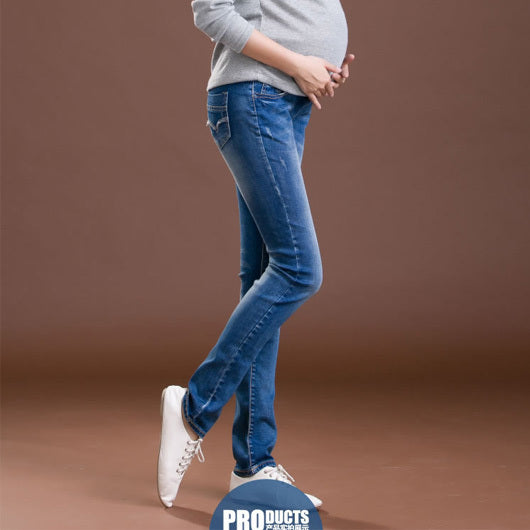 Elastic Waist 100% Cotton Maternity Jeans Pants For Pregnancy Clothes For Pregnant Women Legging Autumn Winter