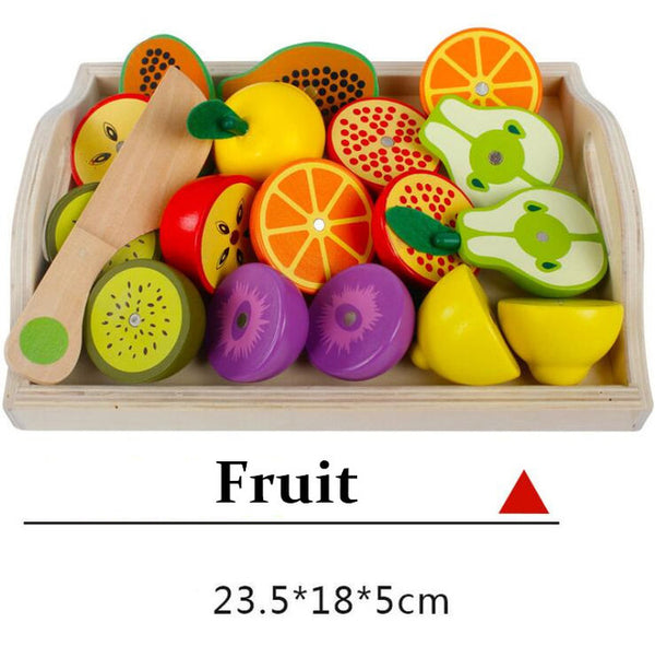 Baby Wooden toys Pretend Play kitchen toys cutting Fruit and Vegetable education food toys