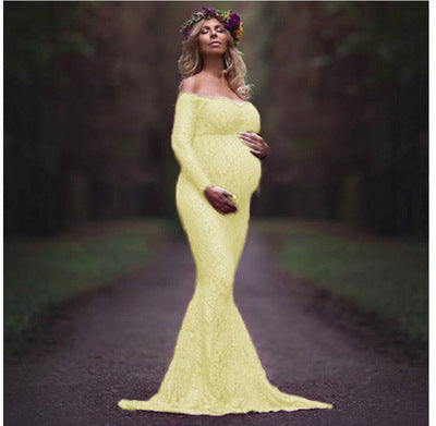 654fd508ffc42 Women's Off Shoulder Long Sleeve Lace Maternity Gown Maxi Photography Dress