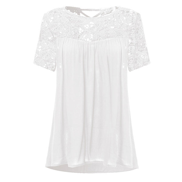 Plus Size Summer Casual Pregnant Women Blouses Lace Chiffon Splice Shirts Loose Short Sleeve Solid Tops Pregnancy Clothes