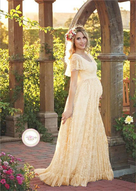 Photography Maternity Dress Lace Long Dress Short Sleeve