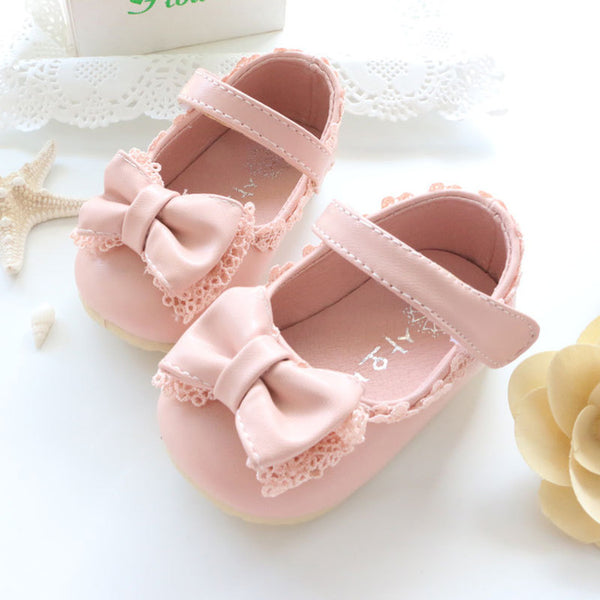 New Spring  & Autumn Baby Girl Shoes Cute Lace Bow knot Princess First Walkers Shoes For Party