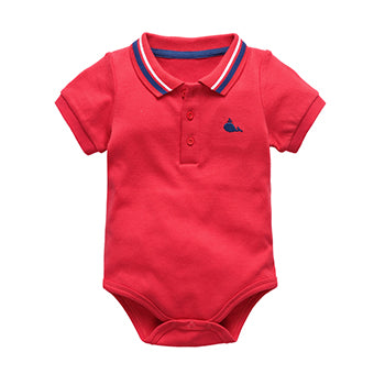 Newborn baby boy bodysuits short sleeve shirt clothes with collar plain infant jumpsuit