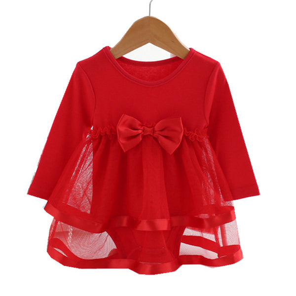 Baby Dress 0-2 year Summer Spring Full Sleeve O-Neck Bow Girls Dresses High Quality