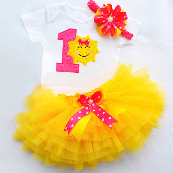 Newborn Infant Baby Girls Dress1 Year First Birthday Outfits