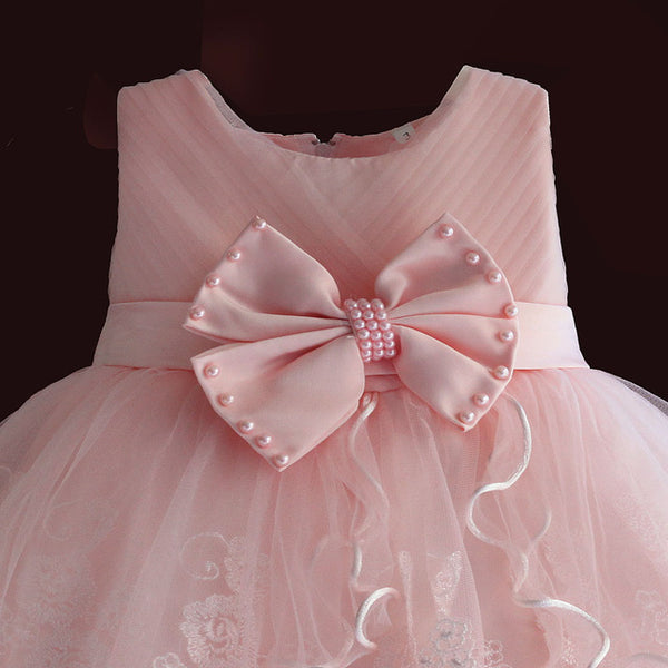 Brand New Baby Girl Dresses Pink White Pearl Bow Party and Wedding