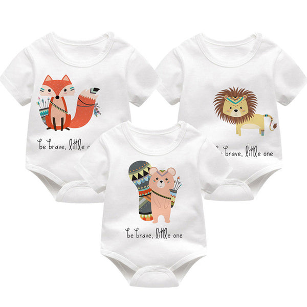 Baby Boys Girls Clothes Summer Spring Cartoon Printed Baby Bodysuits Short Sleeve