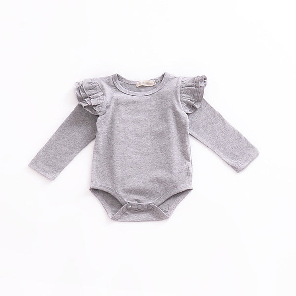 Long Sleeve Baby Bodysuit Ruffles Infant Play suit Cotton Newborn Outfit Fashion Baby Girls Clothing