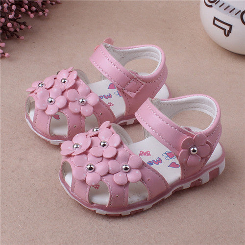 New Summer Baby Girl Shoes Cute Floral Princess First Walkers Leather Shoes For Party