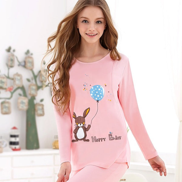 Pink Long Sleeve Suit Maternity Cotton Clothes Breastfeeding Pregnancy Sleepwear for Pregnant Women