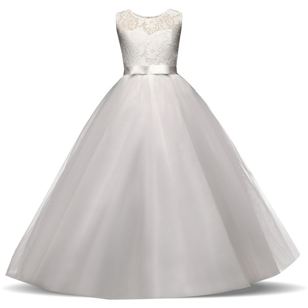 Flower Girl Dresses With Bow Tulle Lace Formal Ball Gown First Communion Dress for Girls 5-14 Years teenagers