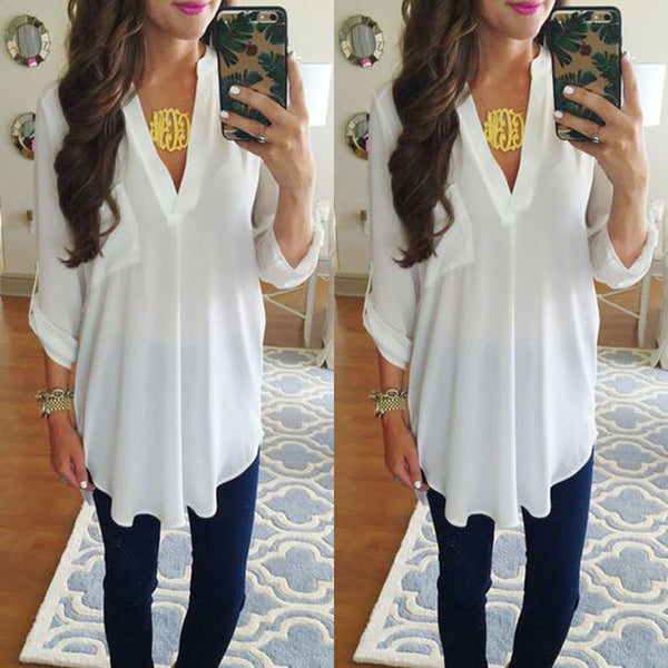 Maternity V-neck chiffon blouse summer fashion casual white shirts loose tops solid color Clothes For Pregnant women