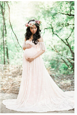 2ea69802e4f9 Maternity Photography Props Floral Lace Dress Fancy Pregnancy Gown for Baby  Shower Photo Shoot