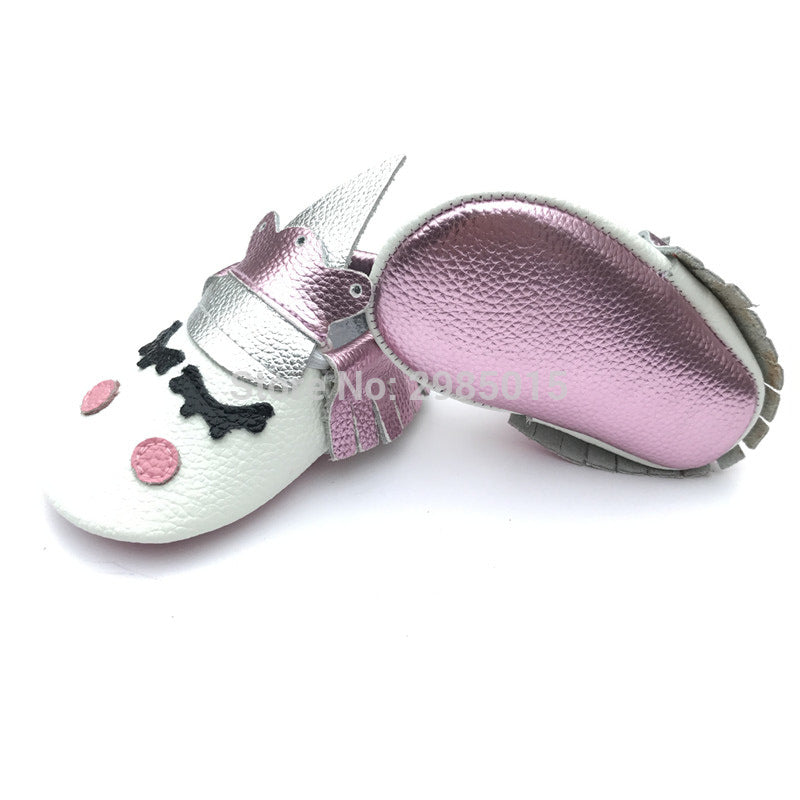 New Custom Cute Baby Boy And Girls Party Moccasins Blush Unicorn