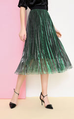 pleated-silk-skirt-green