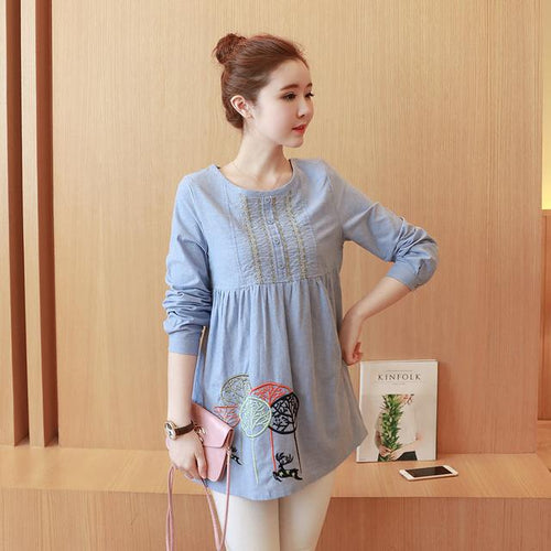Embroidered Women Loose Maternity Blouse