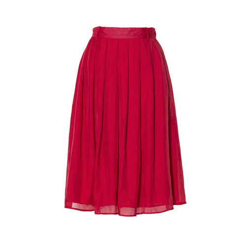 Knee Length Silk Solid Empire Skirts