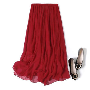 Women Silk Long Skirt