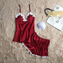 Women brand wine red pajamas set