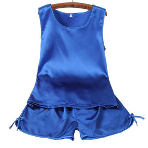 women summer blue pajamas set
