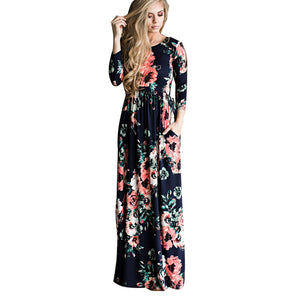 Classic Beauty in this Bohemian Maternity Long Maxi Dress Floral Printed 3/4 Sleeve