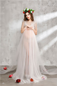 Stunning Maternity Photography Sheer Lace Fabric Dress Set includes Headband, Veil, Rose