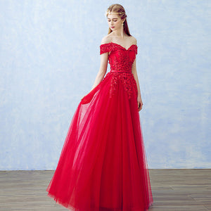 Beaded Off Shoulder Long Red Gown