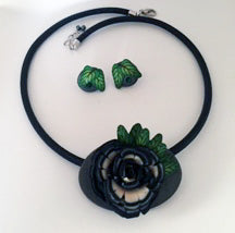 Polymer Clay Flower Design Necklace Set