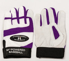 PREMIUM GOATSKIN LEATHER BATTING GLOVE - Purple / White