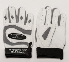 PREMIUM GOATSKIN LEATHER BATTING GLOVE - Silver / White