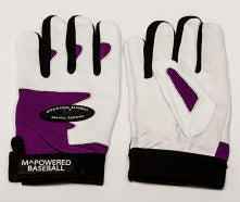 PREMIUM GOATSKIN LEATHER BATTING GLOVE - Purple / White #2