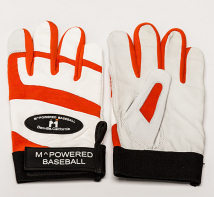 PREMIUM GOATSKIN LEATHER BATTING GLOVE - Orange / White