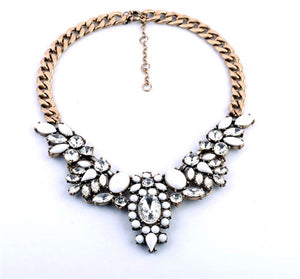White and Crystal Stone Statement Necklace