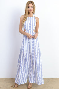 Side cutout halter maxi
