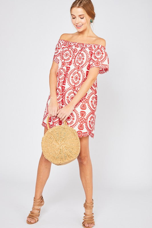 Off Shoulder Embroidered Dress