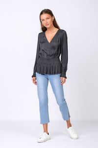 Satin Pleated Top