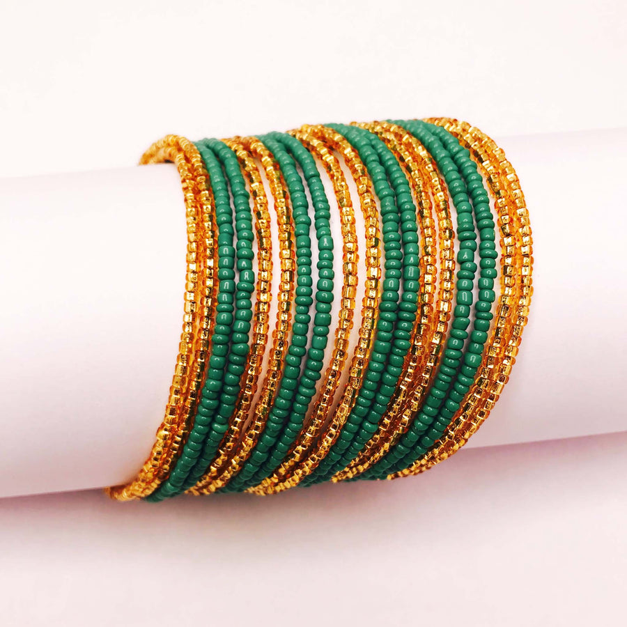 Green and Gold Colored Savannah Wrap Bracelet