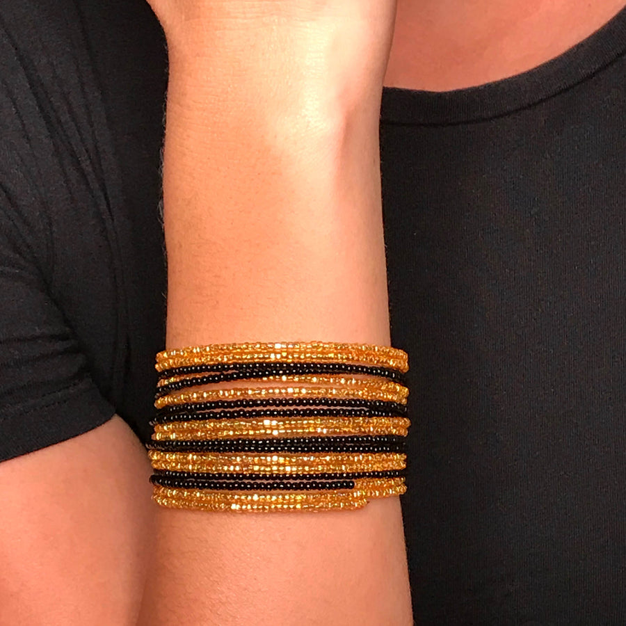 Black and Gold Colored Savannah Wrap Bracelet
