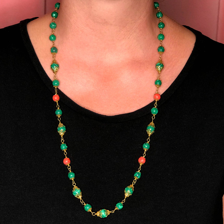 Zuri Malachite and Glass Bead Necklace
