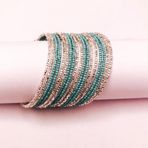 Aqua and Silver Colored Savannah Wrap Bracelet