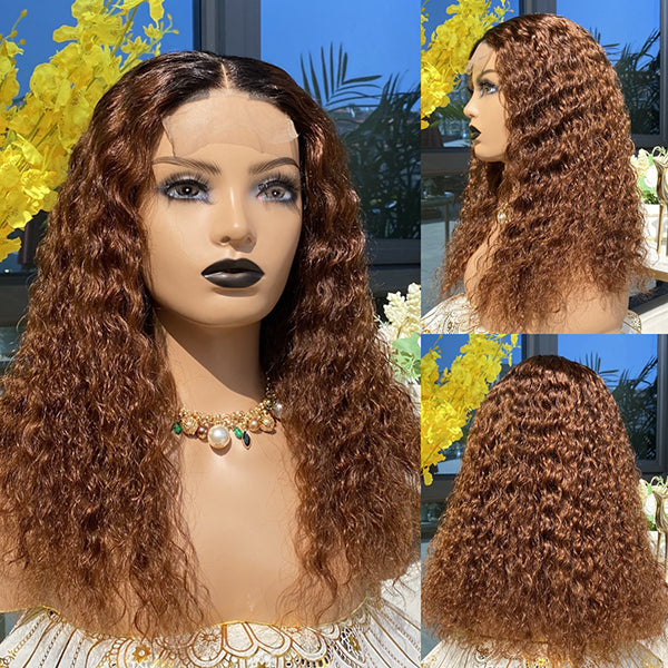 Chestnut Brown Deep Curly Closure Wig 18