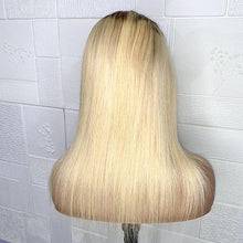 "Load image into Gallery viewer, Blonde Straight 4x4 Lace Closure Wig 12"" [BIG SALE]"