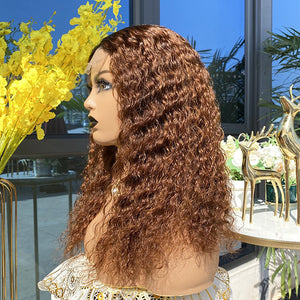 Chestnut Brown Deep Curly Closure Wig 18""